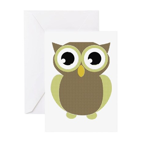 Green Brown Mod Owl Greeting Card