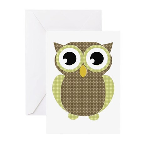 Green Brown Mod Owl Greeting Cards (Pk of 10)