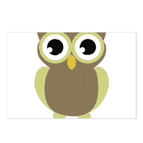 Green Brown Mod Owl Postcards (Package of 8)