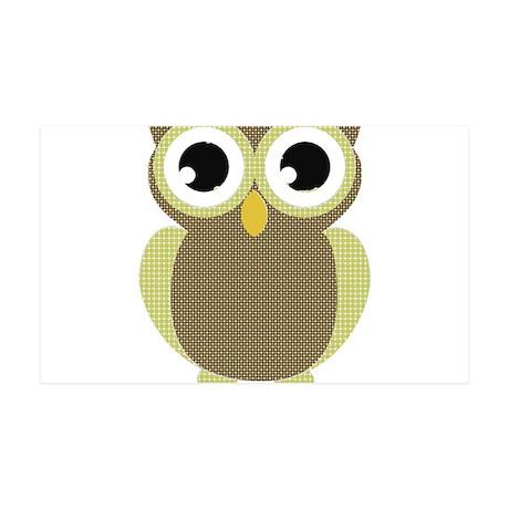 Green Brown Mod Owl 35x21 Wall Decal