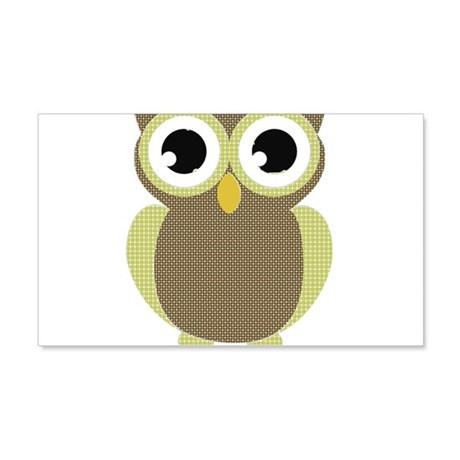 Green Brown Mod Owl 20x12 Wall Decal