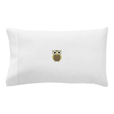 Green Brown Mod Owl Pillow Case