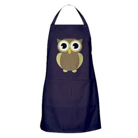 Green Brown Mod Owl Apron (dark)