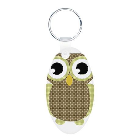 Green Brown Mod Owl Aluminum Oval Keychain