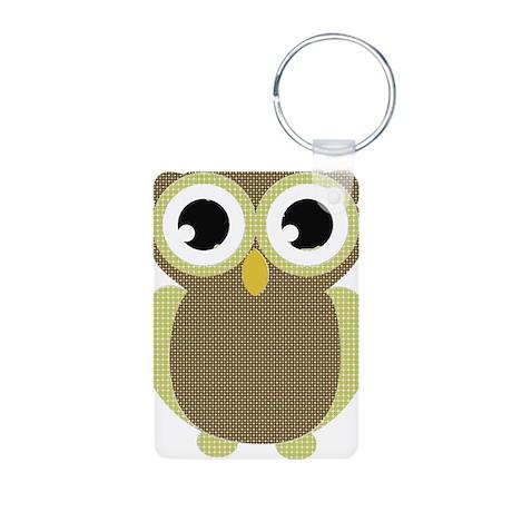 Green Brown Mod Owl Aluminum Photo Keychain