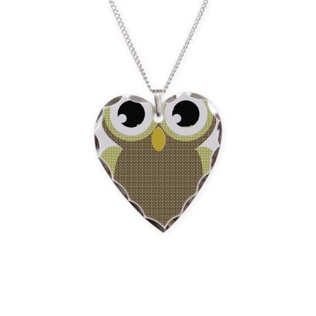Green Brown Mod Owl Necklace Heart Charm