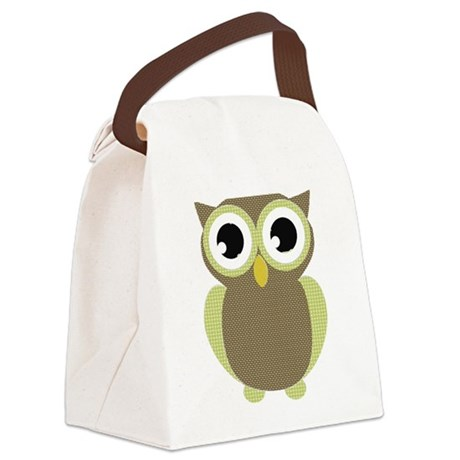 Green Brown Mod Owl Canvas Lunch Bag