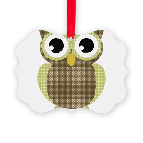 Green Brown Mod Owl Picture Ornament