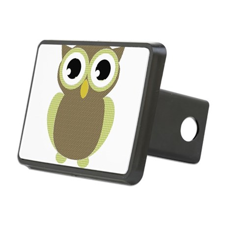 Green Brown Mod Owl Rectangular Hitch Cover