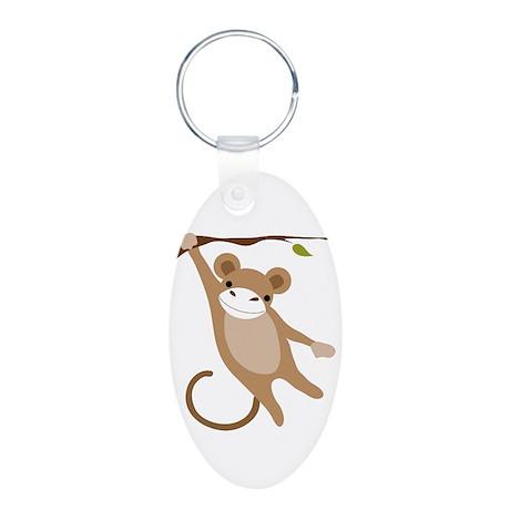 Monkey Aluminum Oval Keychain