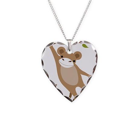 Monkey Necklace Heart Charm