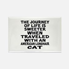 Traveled With american longhair C Rectangle Magnet