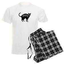 dark sneaky black kitty cat on Halloween Pajamas