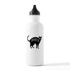 dark sneaky black kitty cat on Halloween Water Bottle