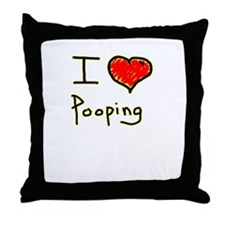 i love pooping funny Throw Pillow