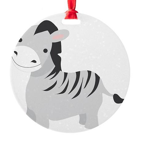 Gray Zebra Round Ornament