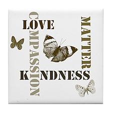 Kindness Matters Butterflies Tile Coaster