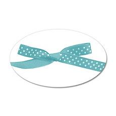 Aqua Polka Dot Ribbon Bow Wall Decal