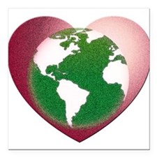 "Love the Earth Square Car Magnet 3"" x 3"""