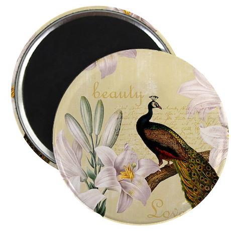 Vintage Peacock Lilies Magnet
