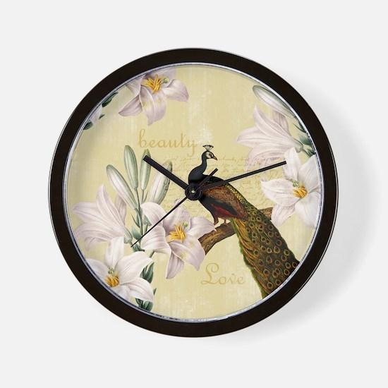 Vintage Peacock Lilies Wall Clock