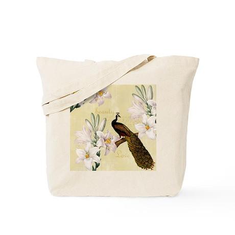 Vintage Peacock Lilies Tote Bag