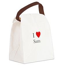 i love sam heart Canvas Lunch Bag