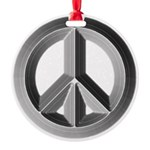 Silver Peace Sign Round Ornament