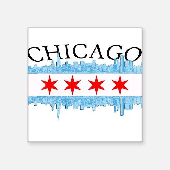 "Chicago Skyline Square Sticker 3"" x 3"""