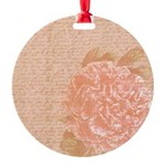 Vintage Romantic Peony Round Ornament
