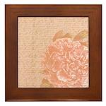 Vintage Romantic Peony Framed Tile