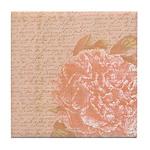 Vintage Romantic Peony Tile Coaster
