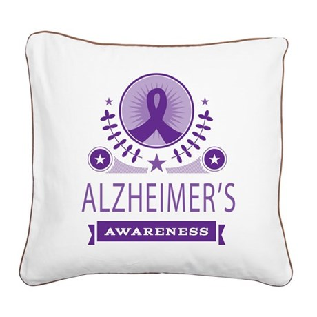 Alzheimer's Disease Vintage Square Canvas Pillow