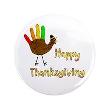 """Hand turkey - 3.5"""" Button"""