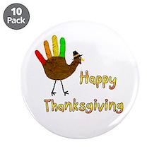 """Hand Turkey - 3.5"""" Button (10 pack)"""