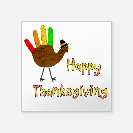 """Hand Turkey - Square Sticker 3"""" x 3"""""""