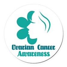 Ovarian Cancer Awareness Lady Round Car Magnet