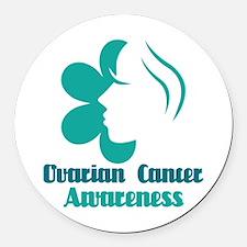 Ovarian Cancer Awareness Lady Round Car Magnet