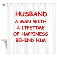 HUSBAND.png Shower Curtain