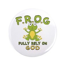 """Fully Rely On God 3.5"""" Button"""