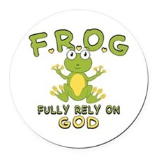 Fully Rely On God Round Car Magnet