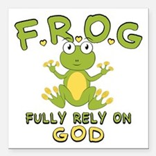 """Fully Rely On God Square Car Magnet 3"""" x 3"""""""