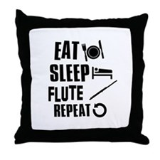 Eat Sleep Flute Throw Pillow