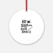 Eat Sleep Flute Ornament (Round)