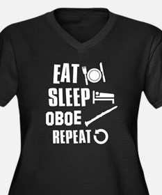 Eat Sleep Oboe Women's Plus Size V-Neck Dark T-Shi