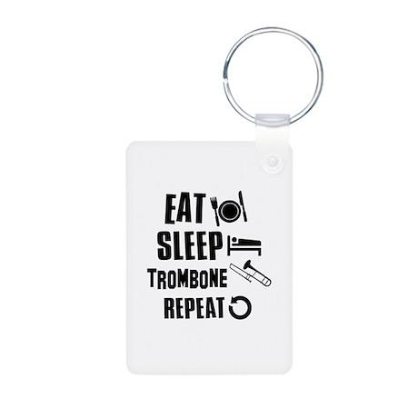 Eat Sleep Trombone Aluminum Photo Keychain