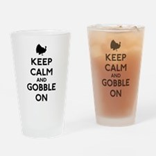 Keep Calm & Gobble On Drinking Glass
