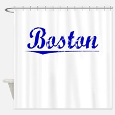Boston, Blue, Aged Shower Curtain
