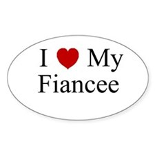 I (heart) My Fiancee Oval Decal