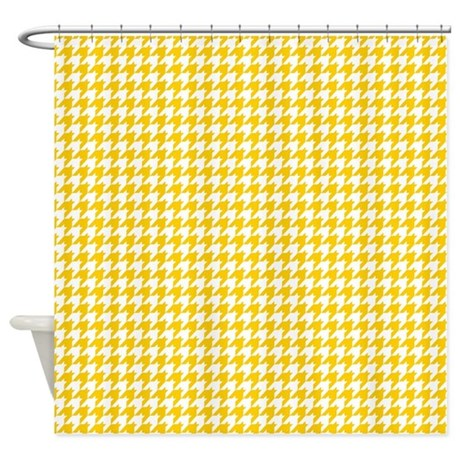 Houndstooth in Yellow and White Shower Curtain by artonwear